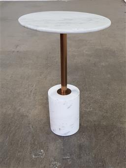 Sale 9191 - Lot 1023 - Marble base marble top sidetable (h75 x d50cm)
