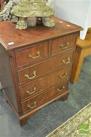 Sale 8347 - Lot 1004 - Georgian Style Mahogany Chest of Five Drawers, with cross-banded top & bracket feet