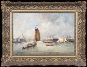Sale 8427 - Lot 565 - Jules Monnickendam (1874 - 1943) - Untitled (Dock Side) 38.5 x 58.5cm