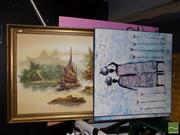Sale 8471 - Lot 2098 - Collection of Artworks & Prints; Various Sizes, Various Media, incl Chinese Junk