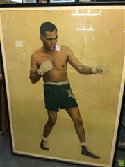 Sale 8648B - Lot 2096 - Boxer, hand-coloured lithograph (A/F), 125 x 91cm
