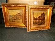 Sale 8686 - Lot 2093 - 2 Works: Cottage Scene & Cliff Scene