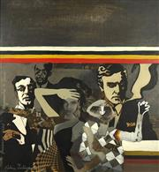 Sale 8699 - Lot 2010 - Aldona Zakarauskas (1943 - ) - Regimented Mr. Jones, 1968 45 x 42cm