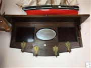 Sale 8730B - Lot 7 - Oak Mirrored Back Hat Rack with Brass Hooks W: 97cm