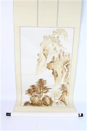 Sale 8757 - Lot 85 - Brown Painted Chinese Scroll Of Mountain Scene
