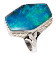 Sale 8899 - Lot 342 - A VINTAGE WHITE GOLD OPAL RING; set with a 20 x 13mm hexagonal opal triplet (chipped) in 9ct gold, size N, wt. 4.23g.