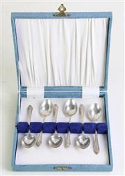Sale 8931 - Lot 83 - Cased Set of Hallmarked Sterling Silver Teaspoons