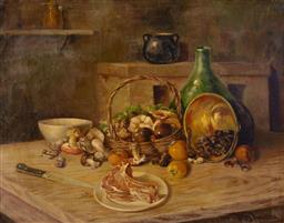 Sale 9125 - Lot 565 - DAmora Still Life with Kitchen Table oil on canvas 78 x 96.5 cm (frame: 98 x 115 x 6 cm) signed lower right