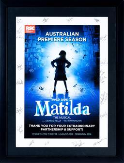 Sale 9130S - Lot 93 - The Musical Australian Premiere Season Roald Dahl Matilda. Frame size 74x 57cm, signed by Royal Shakespeare Company cast members.