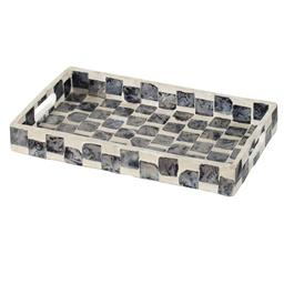Sale 9140F - Lot 13 - A small, decorative tray with pearl black and white tiles arranged in a chequered pattern. Dimensions: W35.5 x D20.5 x H5.5 cm