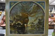 Sale 8449 - Lot 2014 - Artist Unknown, Nautical Battle Scene, acrylic on canvas, 120 x 120cm stretched.