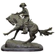 Sale 8332 - Lot 10 - Bronze Figure Group Cowboy After Frederic Remington