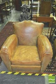 Sale 8371 - Lot 1031 - Leather Armchair (some parts worn)