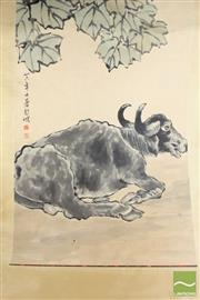 Sale 8494 - Lot 61 - Chinese Scroll Featuring Bull