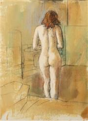 Sale 8656 - Lot 568 - William Boissevain (1927 - ) - Untitled (Interior Scene with Standing Nude) 74.5 x 53.5cm