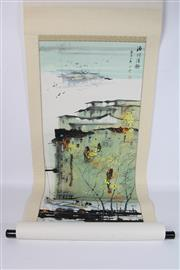 Sale 8748 - Lot 32 - Hand Painted Chinese Scroll Featuring Boats And Cranes