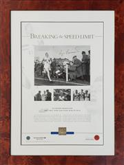 Sale 8961 - Lot 2093 - Sir Roger Bannister Limited edition 200/500 Poster, Breaking the Speed Limit, 49.5x33cm