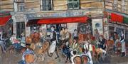 Sale 8992 - Lot 512 - Martial Cosyn - Parisian Cafe Scene 75 x 150 cm (frame: 169 x 93 x 4 cm)