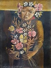 Sale 9058 - Lot 2004 - Colin Garland (1935-2007) - Woman With Flowers frame: 29 x 21 cm