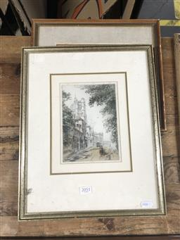Sale 9139 - Lot 2051 - A pair of early 20th century drypoint etchings depicting a street scene and a cathedral above a town