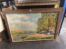 Sale 9155 - Lot 2093A - P. Dupont Country Scene with Cottage and River oil on canvas, 73 x 103cm, signed lower right