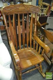 Sale 8337 - Lot 1083 - High Back Carved Timber Rocking Chair