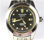 Sale 8402W - Lot 89 - VINTAGE AUTOMATIC DIVERS WATCH; black dial signed Neuchatel Watch with centre seconds, date, rotating bezel, screw down crown on a 2...