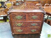 Sale 8428 - Lot 1042 - Late Victorian Probably Beech Miniature Jewellery Chest of Four Drawers, with pierced gallery back, & blind fretwork to drawers & si...