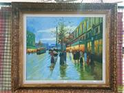 Sale 8582 - Lot 2131 - Artist Unknown, European Street Scene, oil 49.5x60.5cm