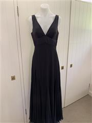 Sale 8694A - Lot 87 - A Princess Charlotte black silk empire-line cocktail dress with a layered, fluted hem, size 10