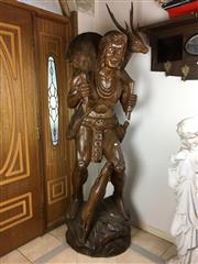 Sale 8730B - Lot 9 - Timber Carved Native American Form Hunter Statues H: 250cm