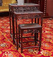 Sale 8804A - Lot 97 - A Chinese rosewood nest of three tables carved with bamboo frames and grapevines missing one, H 71cm, W 50cm x D 31cm