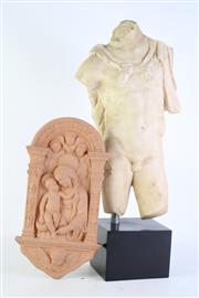 Sale 8844O - Lot 578 - Composite Cast of a Classical Statue on Base (H 54cm inc Base W 23cm) with a Terracotta Panel H 31cm