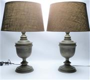 Sale 8864O - Lot 625 - A Pair of Brass Lamps with Wash Finish & Linen Shades (Height With Shades 65cm)