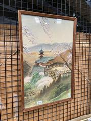 Sale 8932 - Lot 2096 - Chinese School - Temple in the Mountain gouache and wash on silk, signed and stamped