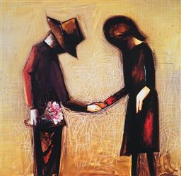 Sale 9133 - Lot 526 - Charles Blackman (1928 - 2018) The Meeting archival pigment print, ed. 80/125 65 x 67 cm (frame: 84 x 83 x 3 cm) signed lower right
