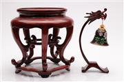 Sale 9057 - Lot 32 - A Small Chinese Timber Vase Stand Together with A Cloisonne Bell on Stand