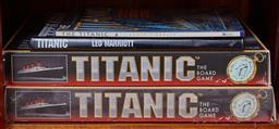 Sale 9103M - Lot 486 - A shelf lot of Titanic themed board games and books.