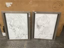 Sale 9106 - Lot 2058 - Two Signed Pencil Sketches