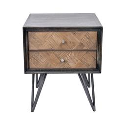 Sale 9140F - Lot 15 - A pair of distressed black wash side tables constructed with old oak featuring a veneer top & forged iron double bar legs. Dimension...