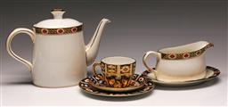 Sale 9138 - Lot 44 - Royal Crown Derby Ambassador Pattern Teapot, Cream Jug and Saucer together with an Imari Pattern Trio