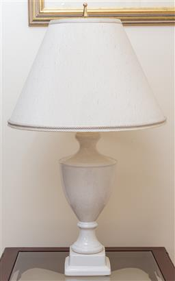 Sale 9155H - Lot 13 - A pair of crackle glaze finished ceramic lamps with cream shade. Total height 92cm