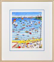 Sale 8325 - Lot 508 - Peter Kingston (1943 - ) - Swimming Cat at Watsons Bay, 1995 44 x 36cm