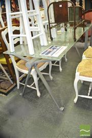Sale 8440 - Lot 1096 - Metal Base Glass Top Table
