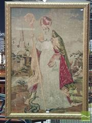 Sale 8539 - Lot 1017 - Victorian Raw and Petit Point Tapestry of St Patrick, standing before a church holding a mitre and holy book, stepping on serpent in...