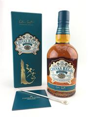 Sale 8588 - Lot 727 - 1x Chivas Regal 12YO Mizunara Blended Scotch Whisky - limited edition aged in Mizunara Oak, in presentation box with swizzle stick...