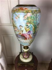 Sale 8730B - Lot 10 - C19th German Ceramic Revolving Urn Depicting a Court Scene with Bronze Trim and Base Signed C.K. Fuchs H: 90cm