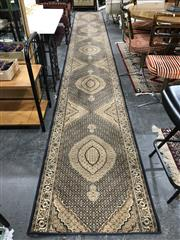Sale 8809 - Lot 1081 - Large Machine Made Runner in Blue and Cream (600 x 80cm)