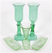 Sale 9003G - Lot 687 - Pair Of Green Glass Hurricane Lanterns H: 40cm, (Chipped) Together With 20th century Green Glassware