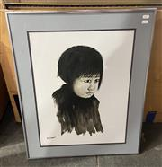 Sale 9004 - Lot 2055 - W. Chan Portrait of a Young Girl, ink and wash on paper, frame: 64 x 70 cm, signed lower left